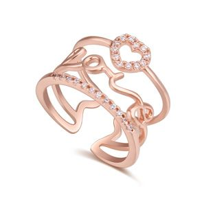 AAA grade Micro Pave CZ Ring  I Love You Rose Alloy NHKSE23601