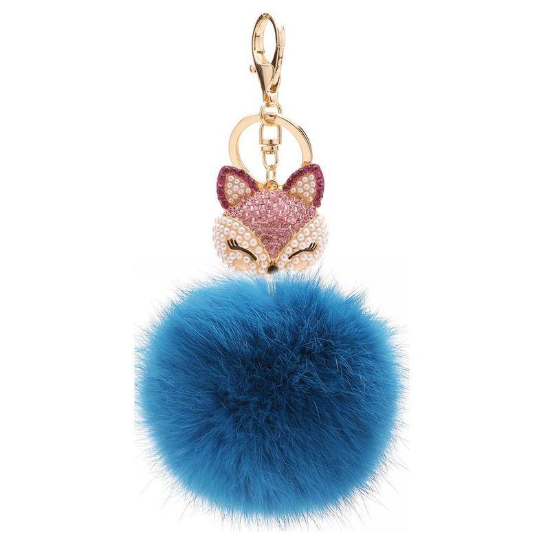 fashion Alloy + Rabbit fur ball Keychain ( 8-blue jeans ) NHMM0338