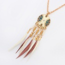 Collar de borla ovalada de moda occidental rojo NHNPS0903