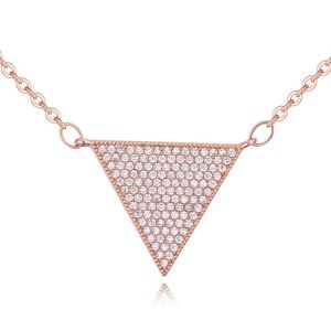 AAA grade zircon necklace Micro Pave  touched hearts rose alloy NHKSE23745