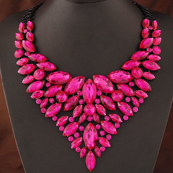 Occident luxury sparkling jewel shining metal exaggeration collar necklace NHNSC3222