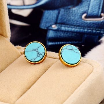Retro alloy Earrings NHKQ0252-Ancient alloy blue turquoise
