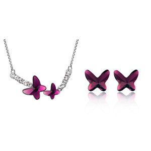 Austrian Imitated crystal Set - Double Butterfly Pendant (Purple) NHKSE24548