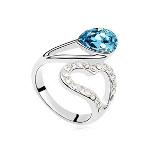 Austrian Imitated crystal Ring  Hearts of Confession Sea Blue NHKSE24566 SIZE 7 US