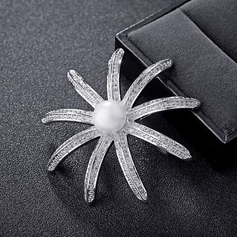 Fashion Alloy  brooch Flowers (White alloy)  NHLJ3496's discount tags