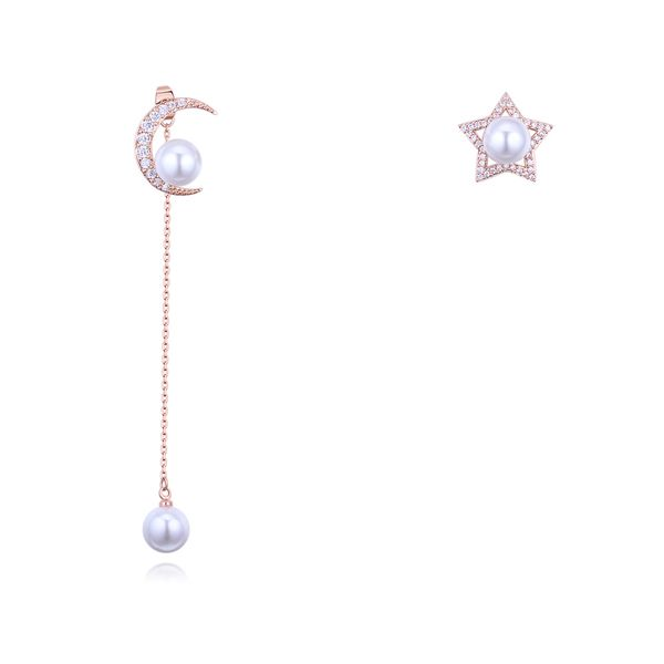 S925 Alloy Needle AAA Grade Inlaid Cylindrical Stud Earrings - Xingyue Bangzhu (Rose Alloy) NHNPS3061