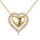 Imported imitated crystal necklace  love Sicily champagne alloy + platinum NHKSE26563
