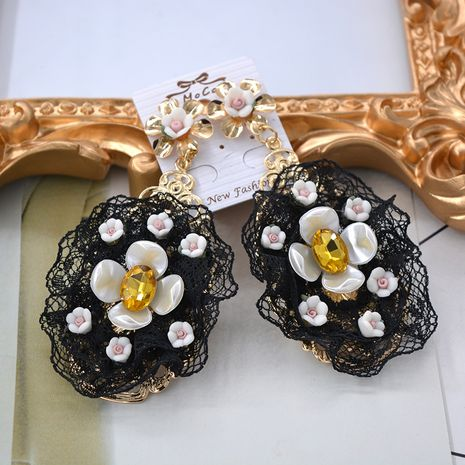 Vintage Alloy hand made earring Flowers (black)  NHNT0063's discount tags
