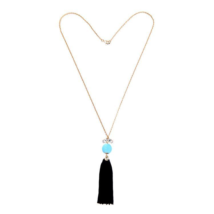 Fashion Alloy Rhinestone necklace Tassel black  NHQD4145