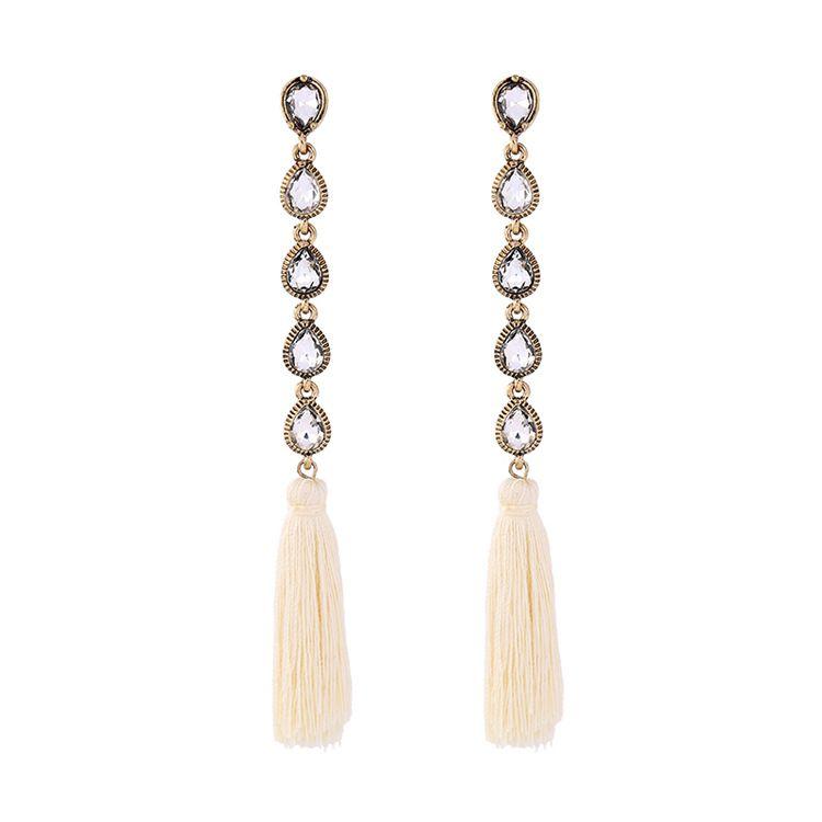 Fashion Alloy Rhinestone earring Tassel NHQD4158