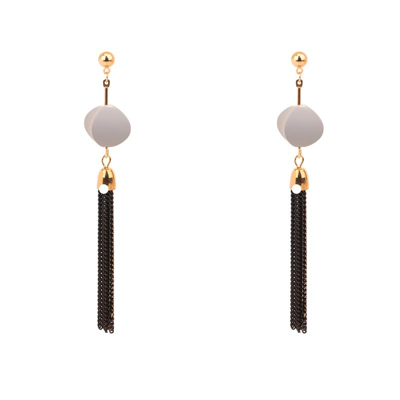 Europe and the United States simple temperament long tassel metal ball stud earrings (gray) NHNPS3020