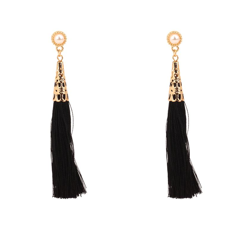 Europe and the United States fashion temperament silk tassel beads earrings (black) NHNPS3037