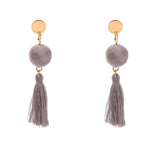 Korean version of the personality temperament plush ball wool tassel ear (gray) NHNPS3049