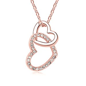 Austrian Imitated crystal Necklace  Heart Heart White + Rose Alloy NHKSE26525