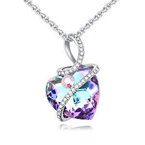 Collier en cristal imit autrichien  coeur agrable violet NHKSE26425