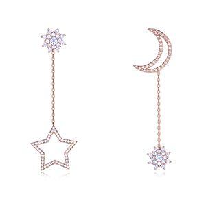 S925 Alloy Needle AAA Grade MicroZircon Stud Earrings  Sun Moon Star Rose Alloy NHKSE26378