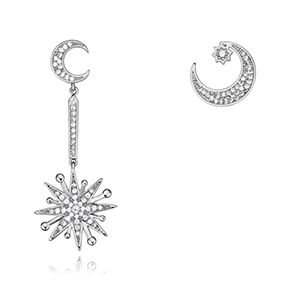 S925 Alloy Needle AAA Grade MicroArched Asymmetric Moon Star Stud Earrings Platinum NHKSE26364
