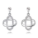 Imported imitated crystal earrings  Acacia knot white NHKSE26459