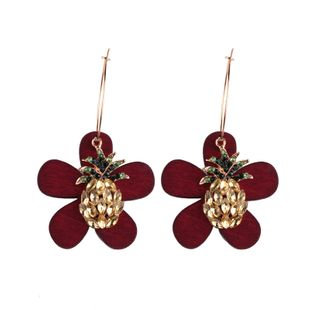 Korea Acrylic  earring Flowers (Red wine)  NHJQ9381-Red wine's discount tags