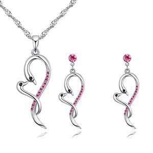 Imported Imitated crystal Set - Cuddle (rose red) NHKSE26743