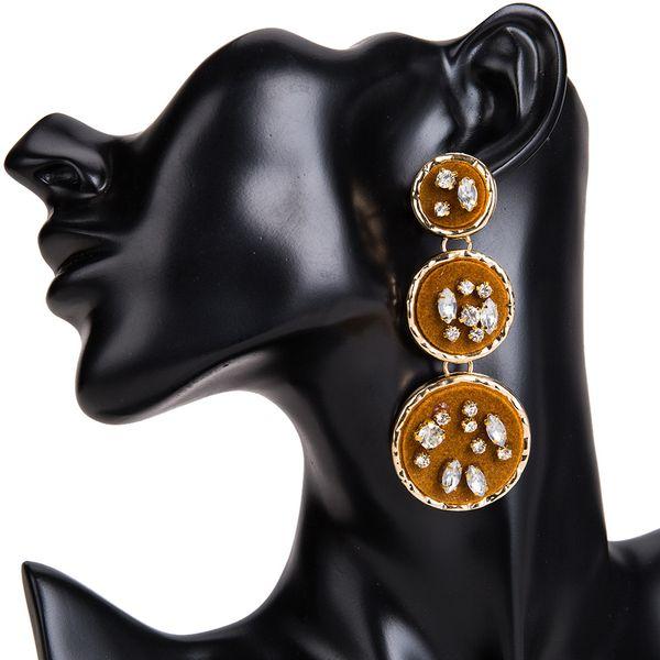 Fashion Alloy Rhinestone earring Geometric (brown)  NHJE0811-brown