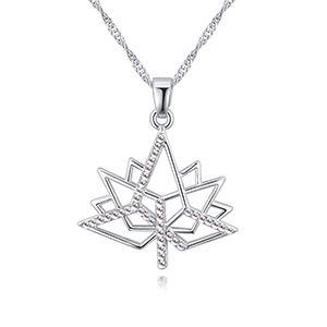 Collier en cristal imit import  Amour feuille d39rable blanc NHKSE26892