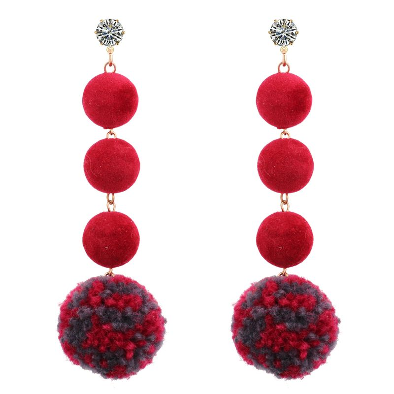 Korean exaggerated personality plush long zircon earrings (red)NHNPS3396