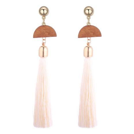 European and American vintage ethnic style long tassel earrings earrings (white)NHNPS3454's discount tags