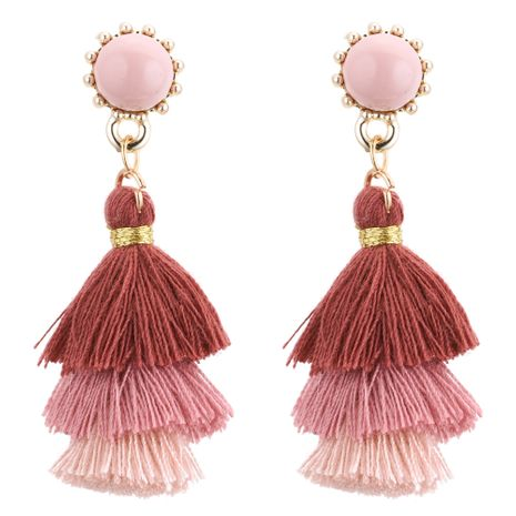 Europe and the United States fashion tassel earrings tassel (bean paste color)NHNPS3525's discount tags