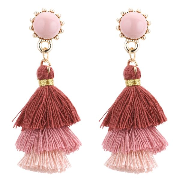 Europe and the United States fashion tassel earrings tassel (bean paste color)NHNPS3525
