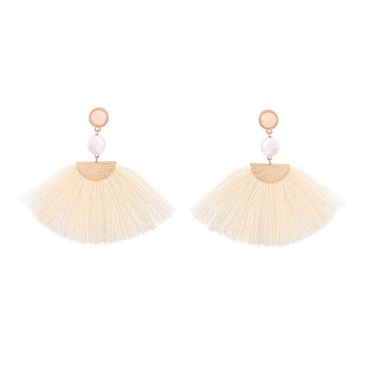 Fashion Alloy Rhinestone Earrings Geometric (white )  NHQD4246-white