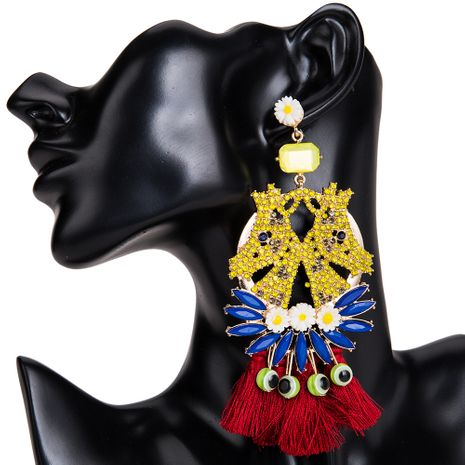 Fashion Alloy Rhinestone earring Flowers (yellow)  NHJE0830-yellow's discount tags