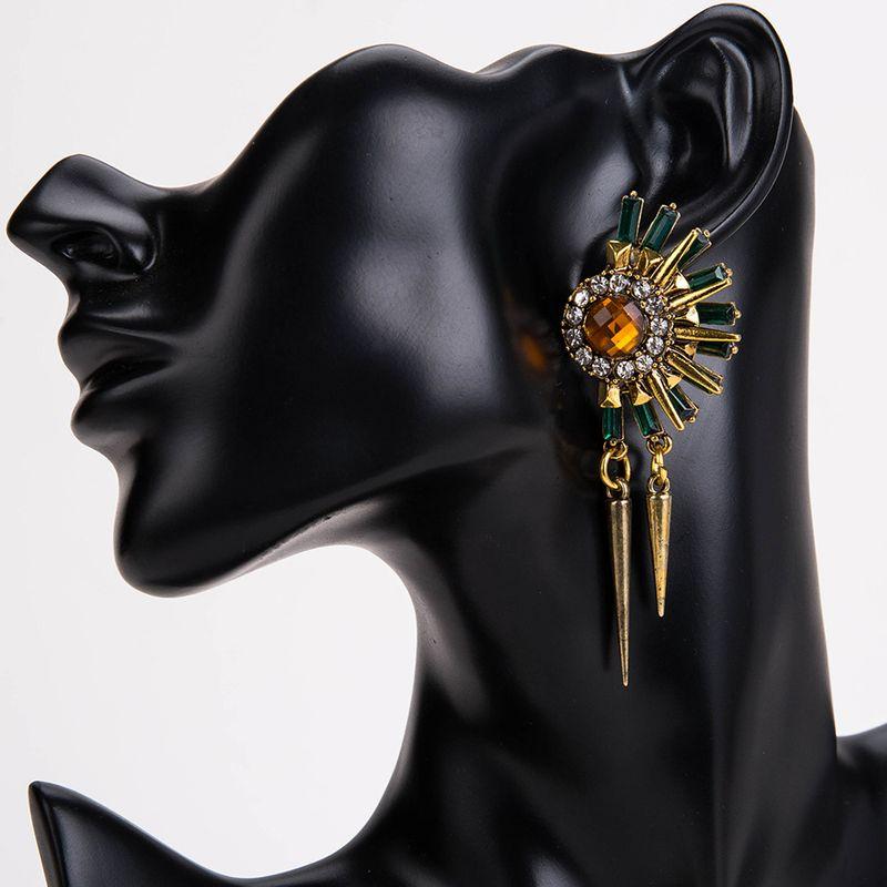 Fashion Alloy plating earring Geometric (green)  NHJE0753-green