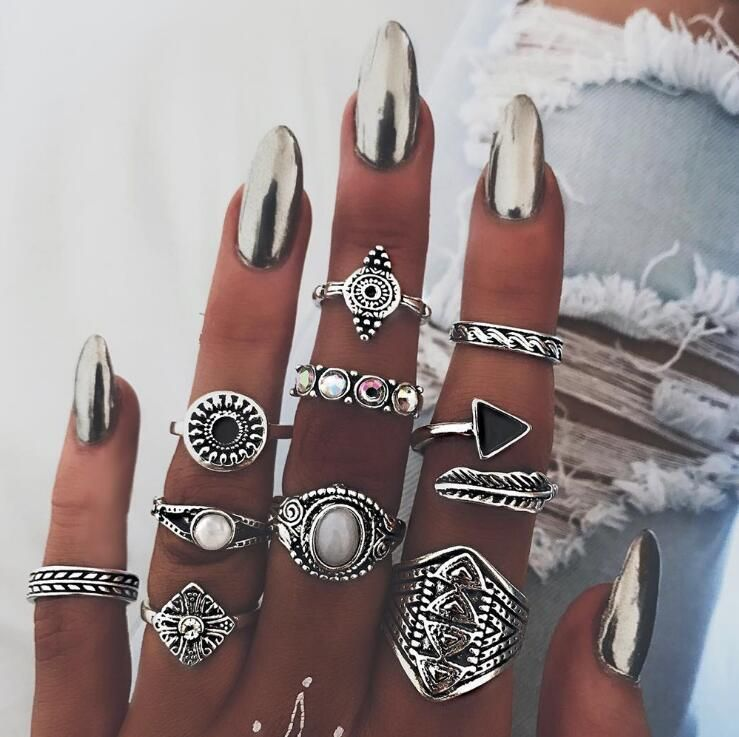 Other Alloy  Rings Geometric Ancient alloy  NHGY0755Ancient alloy