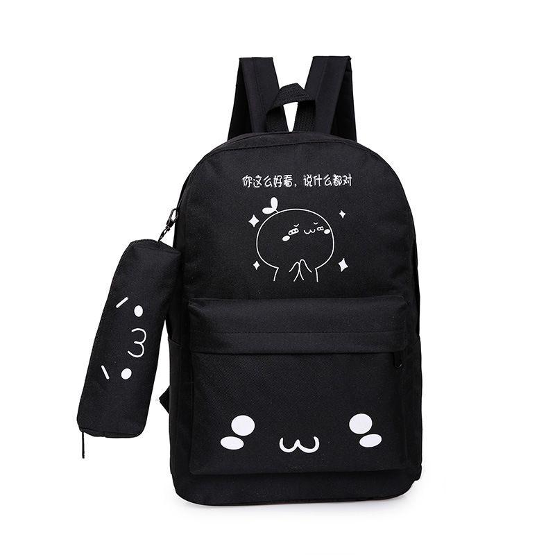 Cute Canvas  backpack  (Looks good black)  NHXC0202-Looks good black