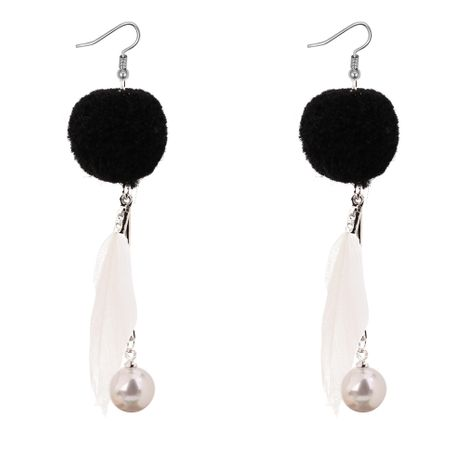 Boucles d'oreilles pompon coréen de la personnalité sauvage de perles en plumes (blanc) NHNPS3112's discount tags