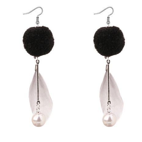 Boucles d'oreilles gland coréen personnalisé perles de plumes sauvages (gris) NHNPS3113's discount tags