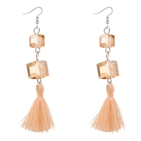 Korean temperament personality imitated crystal wool tassel earrings (alloy)NHNPS3206's discount tags