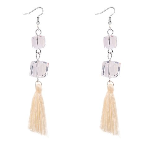 Korean temperament personality imitated crystal wool tassel earrings (white)NHNPS3208's discount tags
