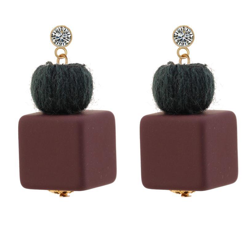 Korean personality simple ball square square rhinestone earrings (dark green)NHNPS3238