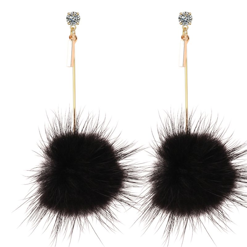 Korean fashion sweet temperament mink hair ball zircon long earrings (black)NHNPS3290