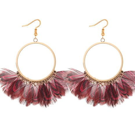 Boucles d'oreilles en plumes de paon exagérées de la personnalité coréenne (rouge) NHNPS3297's discount tags