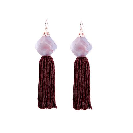 Fashion Alloy Rhinestone earring Tassel (Wine red -1)  NHQD4285-Wine red -1's discount tags