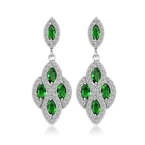 Simple Zircon Copper inlaid zircon Earrings  (Emerald-01C12)  NHTM0055-Emerald-01C12's discount tags
