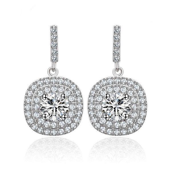 Fashion Zircon plating Earrings  (Pure white -03D02)  NHTM0070-Pure white -03D02