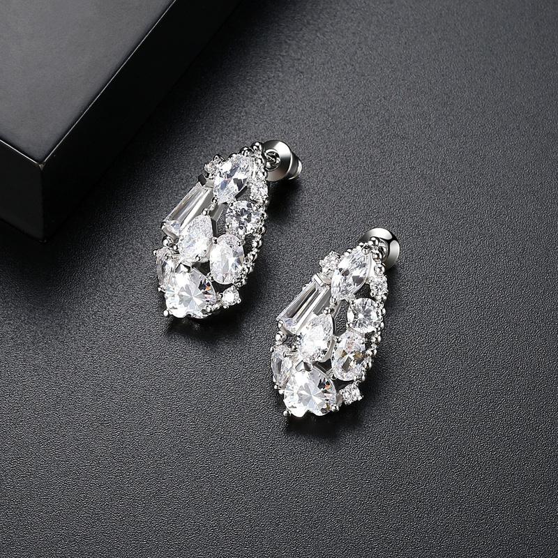 Simple Zircon  Earrings  White zirconium white alloy 10G20  NHTM0079White zirconium white alloy 10G20