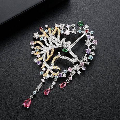 Fashion Zircon  brooch  (Platinum color zirconium-17B12)  NHTM0096-Platinum color zirconium-17B12's discount tags