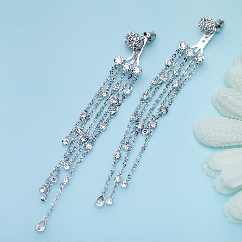Fashion Zircon  earring  (White zirconium white alloy 09F08)  NHTM0104-White zirconium white alloy 09F08