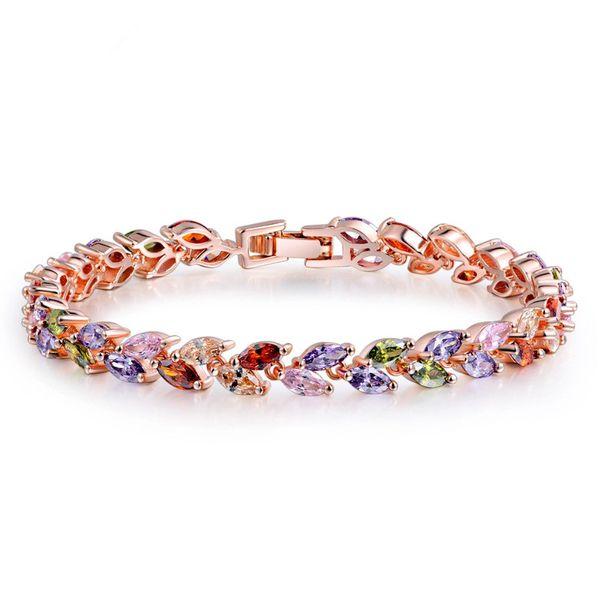 Korea Zircon Inlaid precious stones Bracelets  (Colorful 17cm-11G02)  NHTM0165-Colorful 17cm-11G02