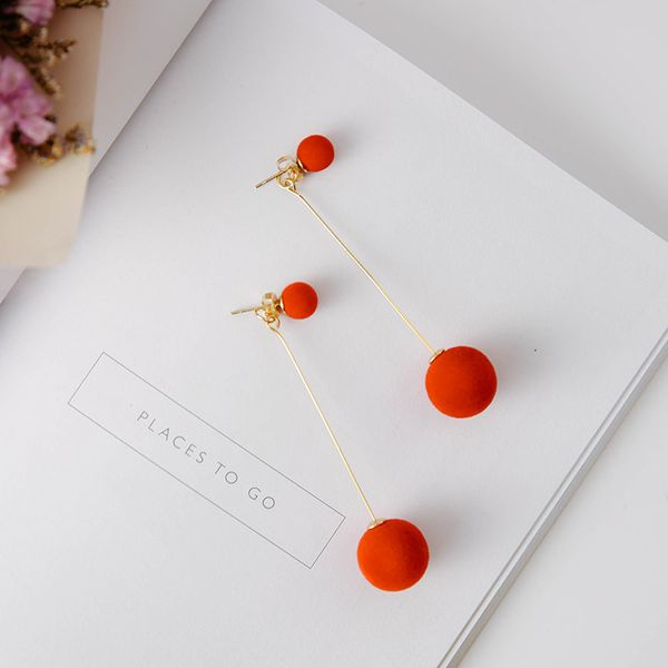 Korea Alloy plating Earrings Geometric (A big red)  NHMS0094-A big red